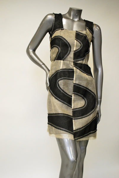 Jacket and Sleeveless Dress Sale - Creme, Black Geometric Pattern
