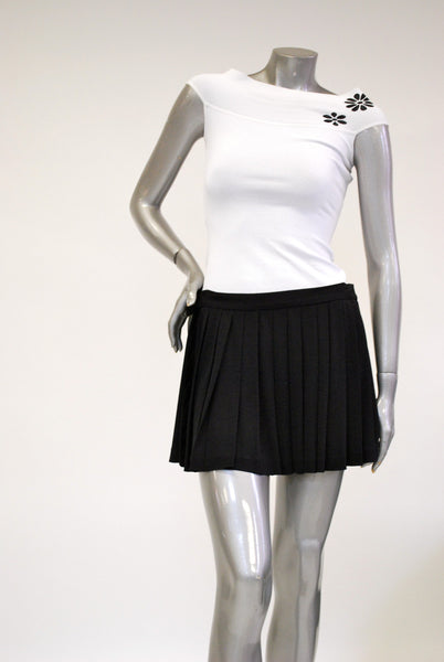 White Knit, Womens Top Sale - with Black Flower Motif