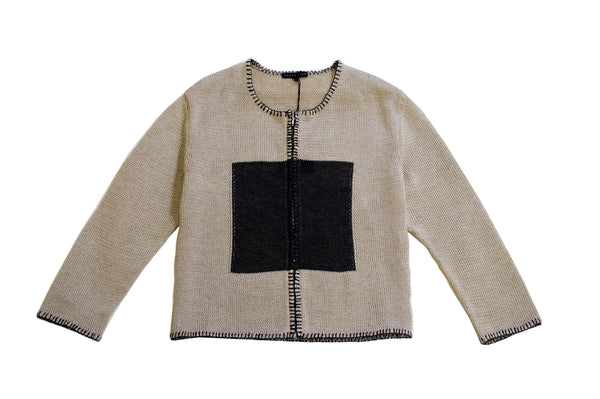 Arielle - Yellow Cardigan and Color Block Sweater with Raffia Ribbon Details