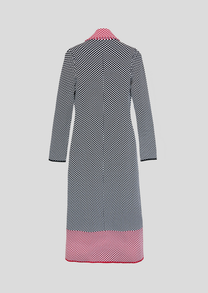 Darsi - Long Women's Peacoat with Diamond Pattern