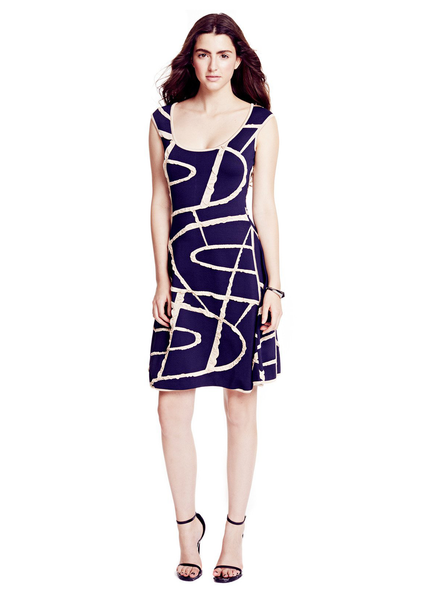 Delphine - Knit Navy Blue Dress with Abstract Detail