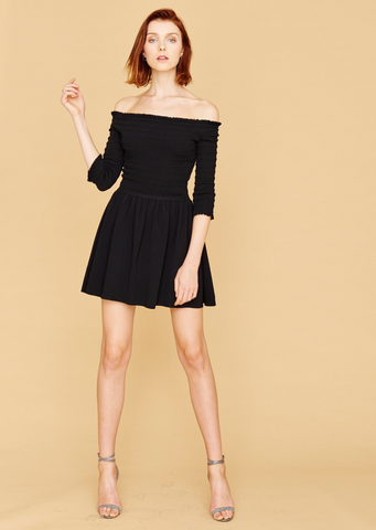 Dianna - Ruched, Black Off The Shoulder Dress with Short Sleeve