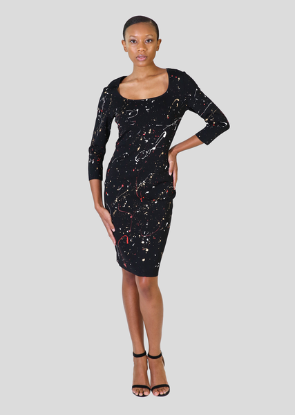 Collettee - One of a Kind, Long Sleeve Black Paint Splatter Dress