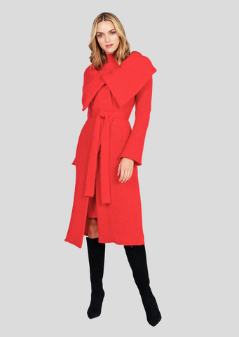 Elisa – Solid Mohair Coat with Belt