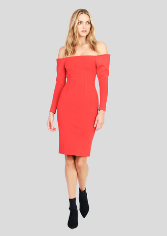 Elita – Strapless Pencil Dress with Dramatic Shoulders