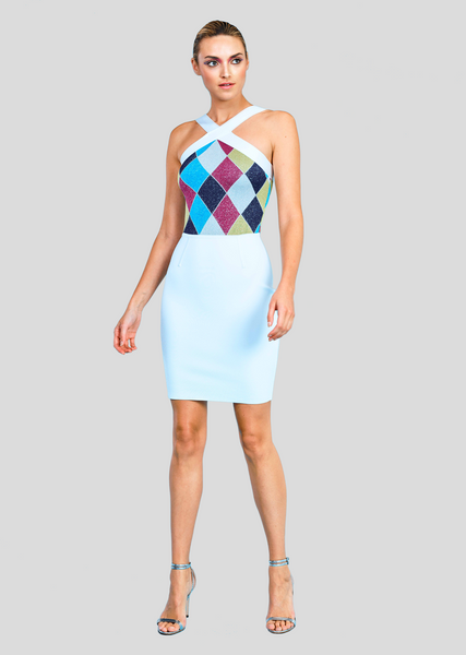 Ella - Fitted Halter Dress with Metallic Geometric Design