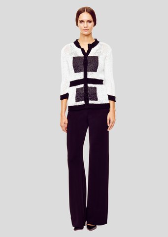 Esme - 3/4 Sleeve, White and Black Cardigan Sweater