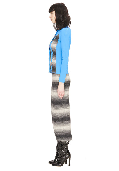 Anouk - Gray Wave Striped, Knit Pull On Long Skirt