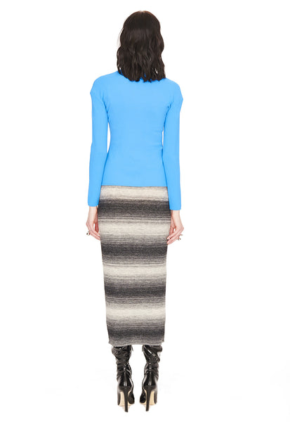 Frances - Knit, Azure Blue Striped Sweater with Tonal Grey Motif