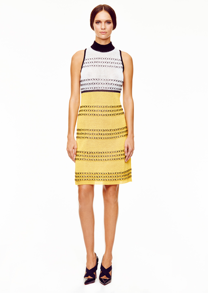 Fabienne - White and Yellow Sleeveless Dress with Black Details