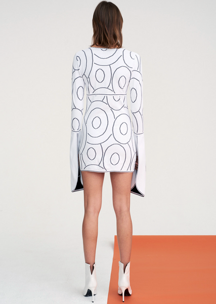 Geneva - Tunic Dress with Fan Sleeve and Circular Design