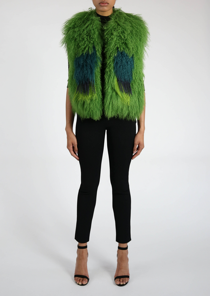 Green Astrakhan Fur Vest with Square Motif
