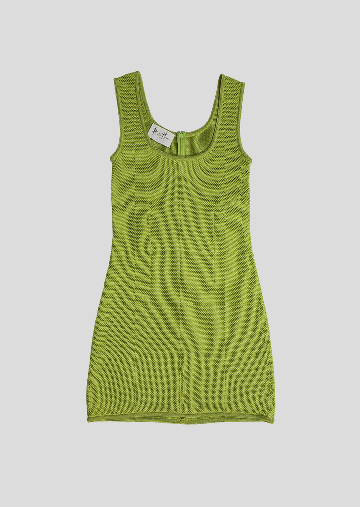 Sultry, Sleeveless Green Dress Sale - Pique Knit