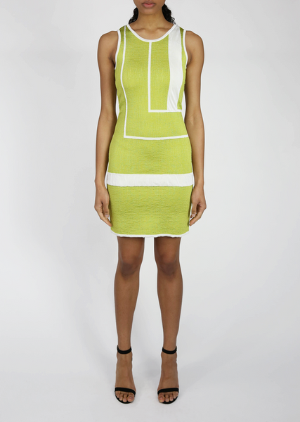 Jordana - Lime Green and White Mini Dress with Striped Pattern