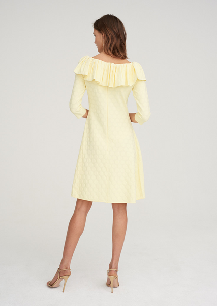 Henrietta - Polka Dot, Bardot Off The Shoulder Ruffle Dress