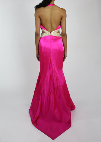Fuscha Halter Gown with Cutouts