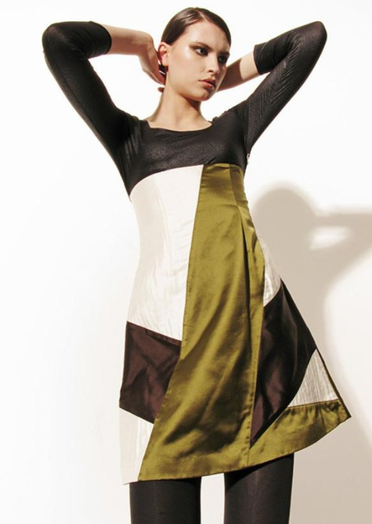 Abstract Silk Olive Green Dress Sale