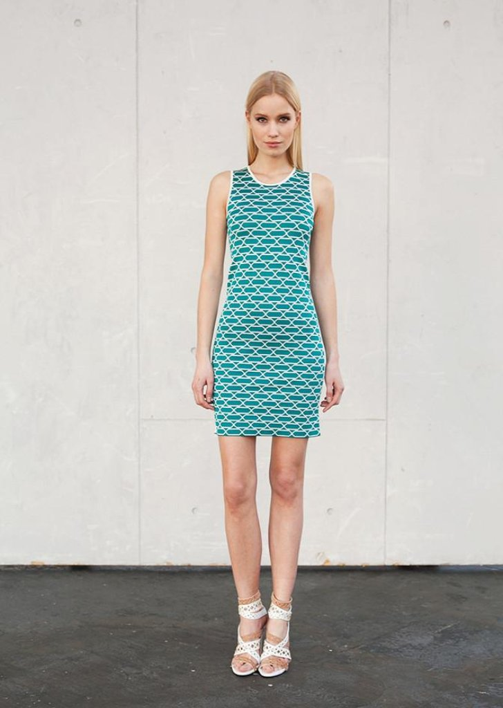 Lucille - Sleeveless Turquoise Bodycon Dress