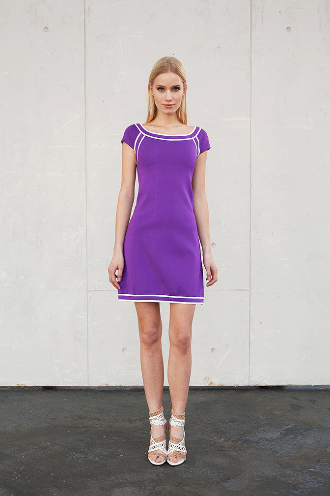 Clara - Pique Knit, Purple or Black Shift Dress with Pearl White Details