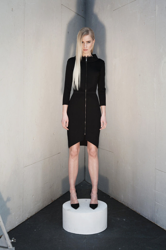 Ines - Knitted, Zip Front, Collared Black Dress