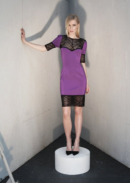 Cecile - Short Sleeve, Black Mesh, Purple Pencil Dress
