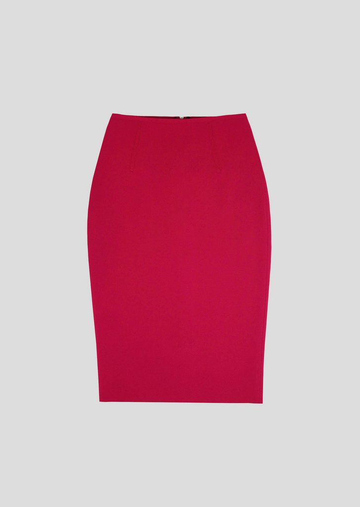 Iva – Milano Knit Pencil Skirt with Feature Silver Zipper