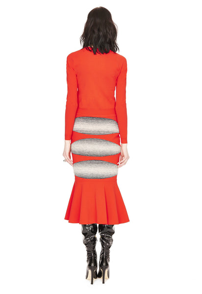 Jacqueline - Knit Poppy Red Trumpet Skirt with Tonal Grey Motif