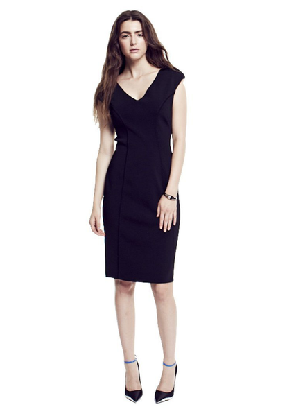 Sabrina - Cap Sleeve V Neck Black Dress