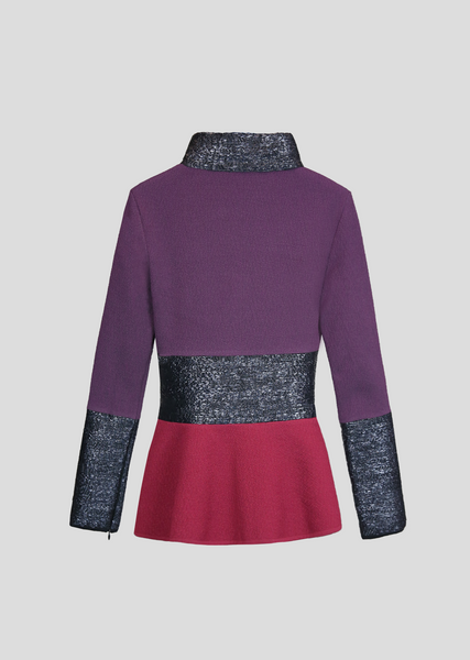 Janvier – Peplum Jackie O Collar Jacket with Raffia