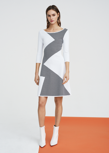 Jewel - Geometric Contrast Dress with 3/4 Sleeves