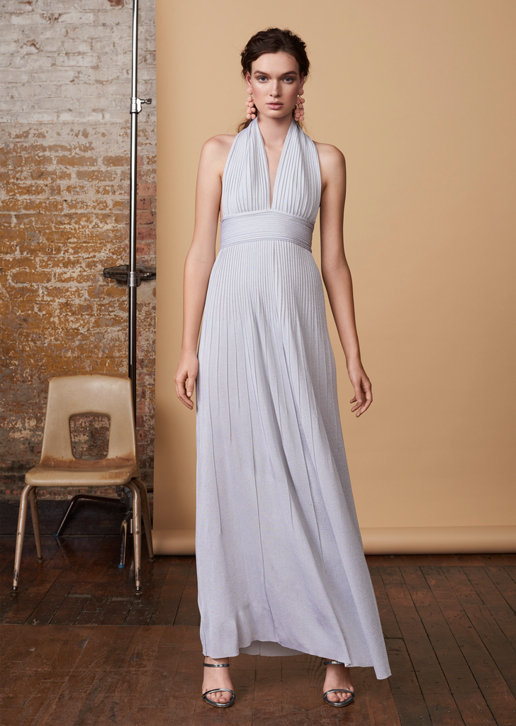 Jocelina - Shimmery Halter Evening Gown with Plunging Neckline