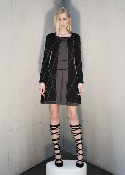 Josephine - Jacquard Knit, Long Black Coat with Grey Linear Design