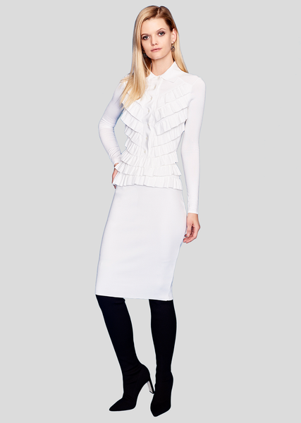 milano knit womens high waisted white pencil skirt paula hian official online boutique women s luxury fashion