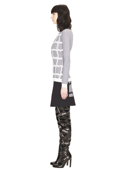 Agnes - Designer, Black and White, A Line Skirt