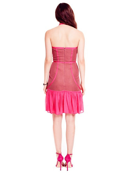 Lisette - Pique Knit Halter, Mauve and Fuchsia Pink Dress