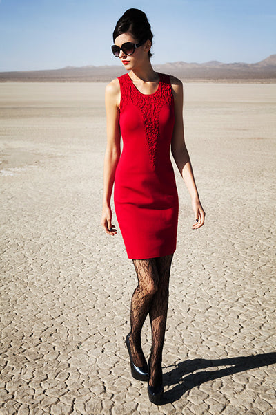 Amandine - Sleeveless Red Cocktail Dress with Ruched Point Inset Detail