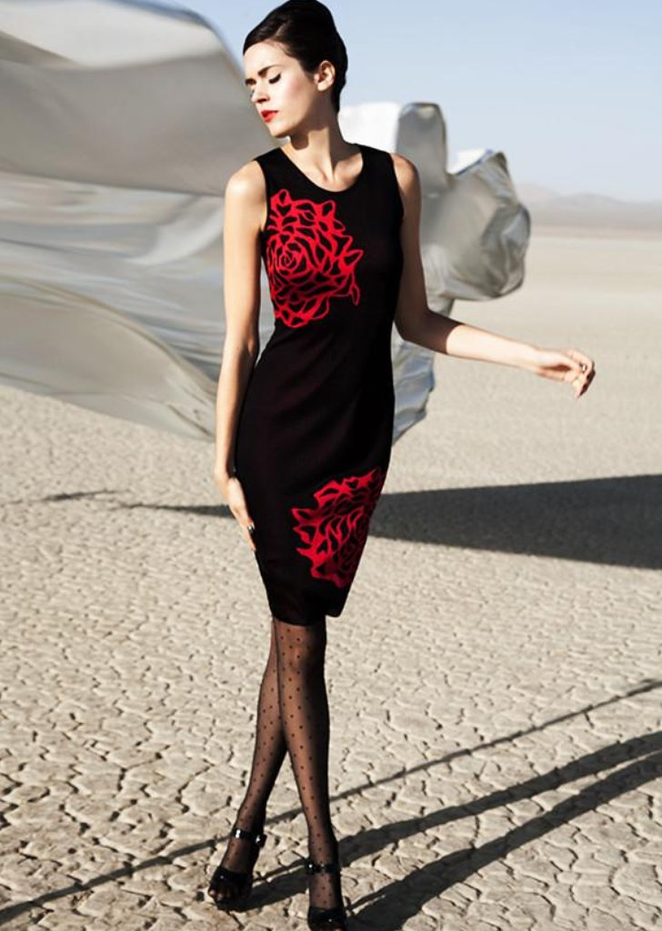 Sabine - Black Sheath Dress with Abstract Red Flower Detail