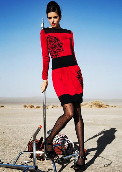 Josette - Long Sleeve Red Dress with Black Flower Design