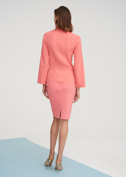 Lacee - Pleated Collared Jacket with Bell Sleeves