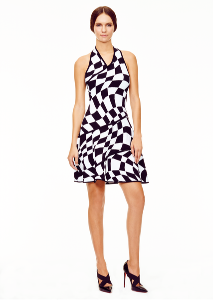 Laurence - Geometric Pattern Black and White Halter Dress
