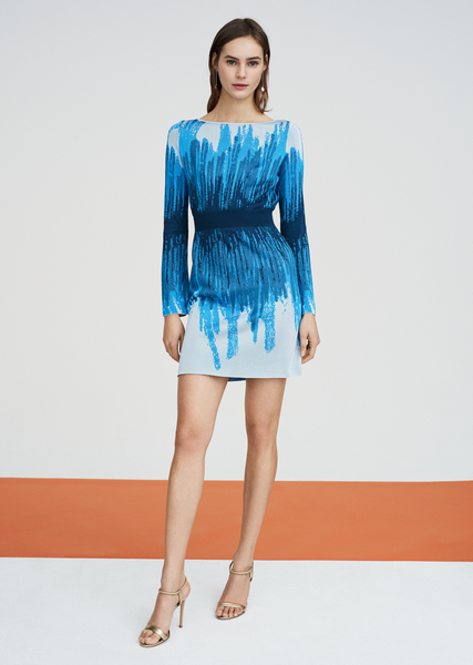 Lilou - Long Sleeve Dress with Original Ombré Design