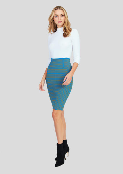 Olympia – Contrasting Stripe Pencil Skirt