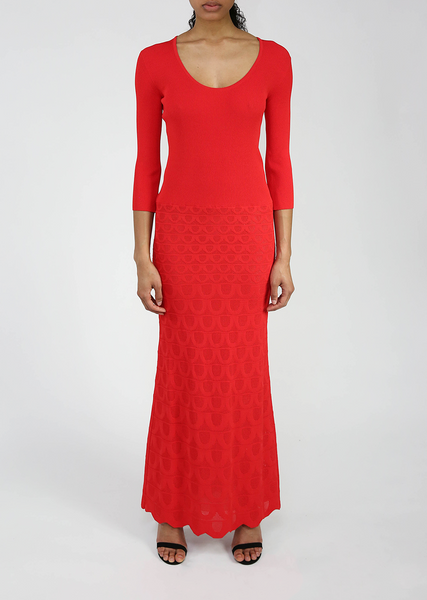 Red Knit Gown with Textured Motif Design