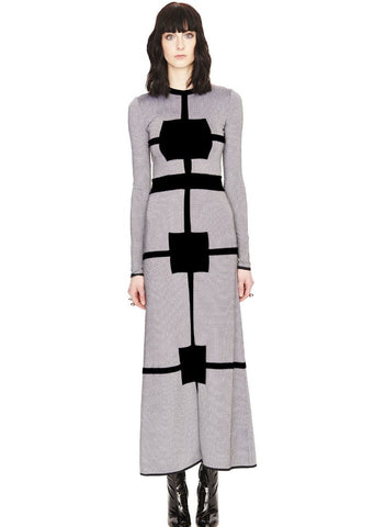 Marcelle - Grey, Blue or Red Jacquard Knit Tweed Maxi Dress