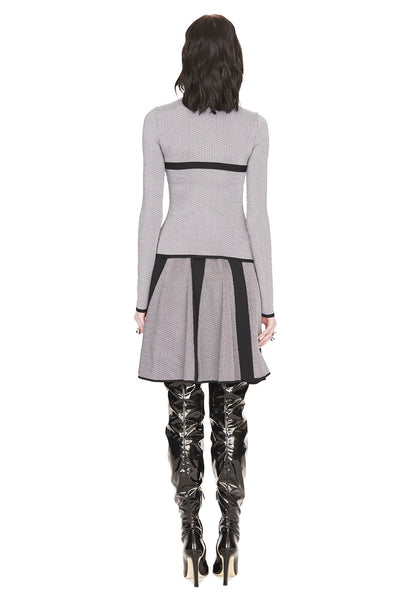 Andrea - Tweed Knit, Pleated White Black Circle Skirt