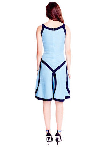 Martine - Sleeveless Baby or Light Blue Dress with Navy Detail