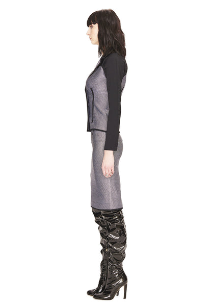 Maryse - Womens Tweed Jacket, Grey with Black Details