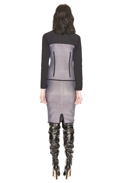 Aurore - Grey Tweed Pencil Skirt with Black Details