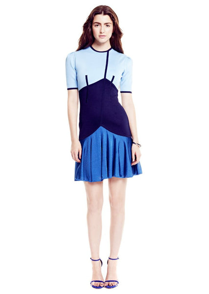 Dorothee - Color Block, Short Sleeve Blue Dress