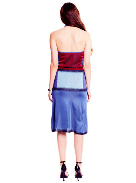 Mimi - Cranberry and Ombre Blue Halter Dress